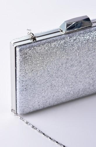 Damen Sand Silbirg Abendkleid Tasche 0274-03 Silber 0274-03