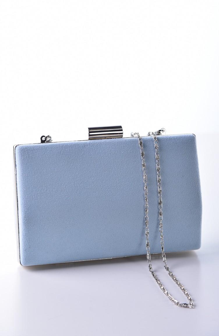 Damen 05 Tasche 0278 Abendkleid Blau Wildleder 4Lc3ARqj5