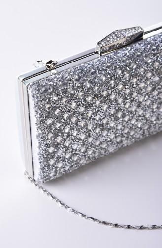 Silver Gray Portfolio Hand Bag 0338-02