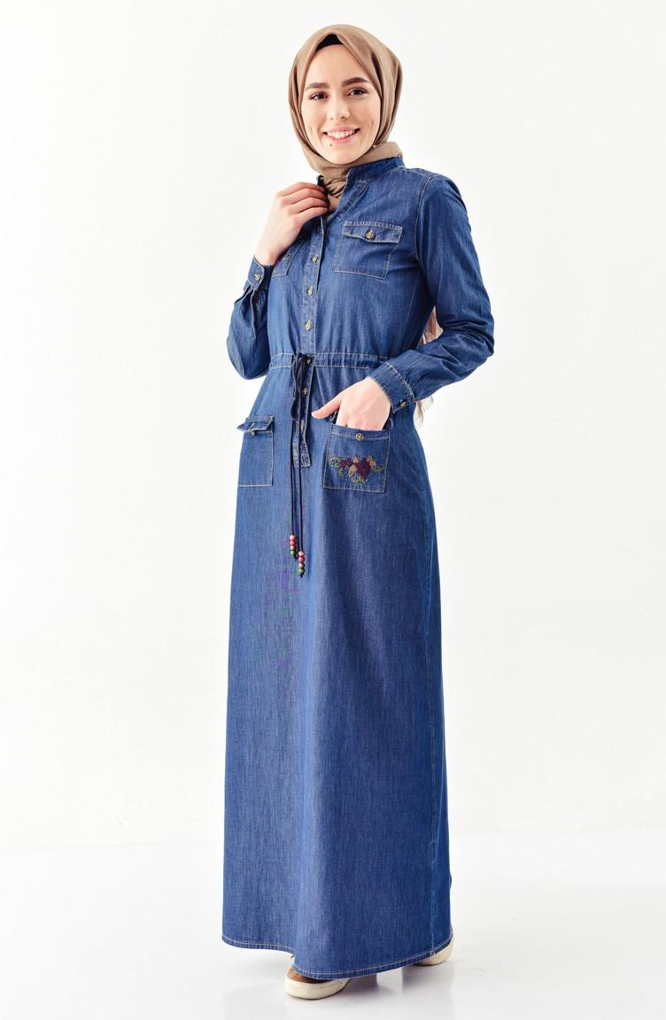 Sefamerve Açık Lacivert Nakışlı Kot Spor Elbise
