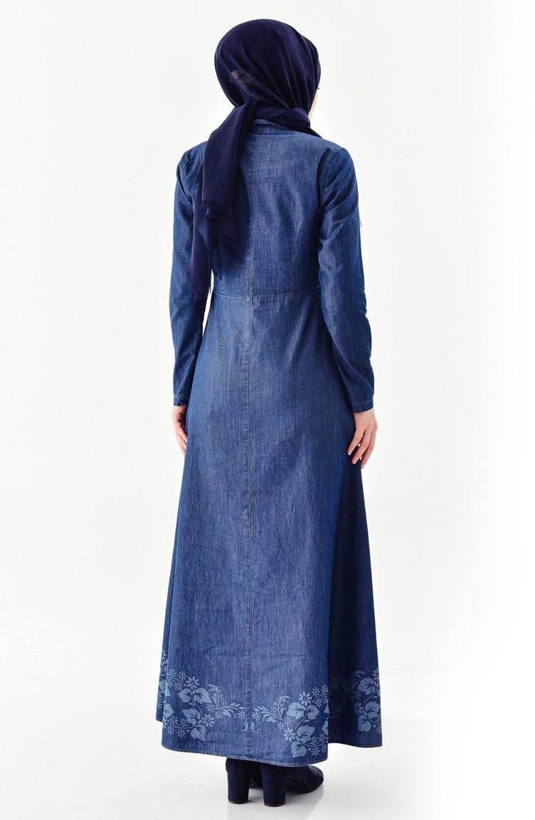 Sefamerve Lacivert İncili Kot Elbise