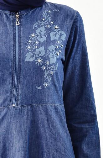فستان جينز بتفاصيل من اللؤلؤ9263-01 لون كحلي 9263-01