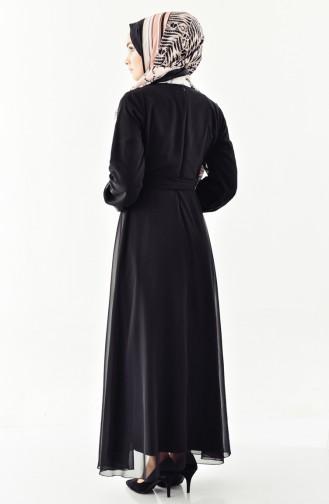 Chiffon Kleid mit Band 3020-01 Schwarz 3020-01