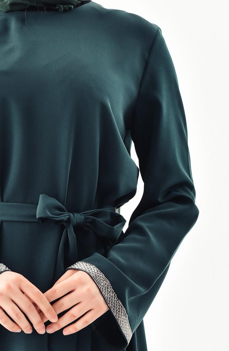 Sefamerve Zümrüt Yeşili Taşlı Elbise
