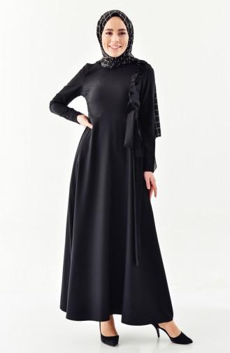 ZEN Frilly Belted Dress 0213-01 Black 0213-01