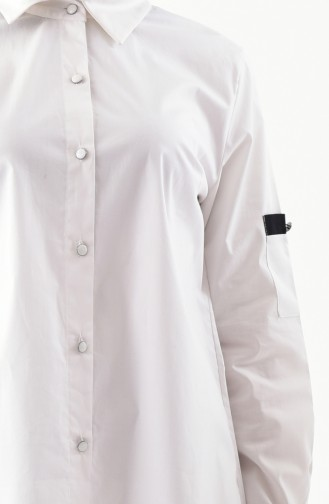 Large Size Buttoned Tunic 3529-02 White 3529-02
