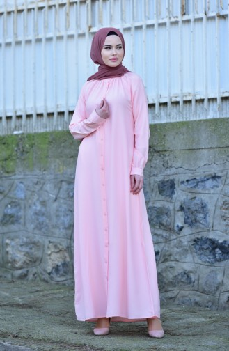 Viskon Düğmeli Elbise 8119-02 Pudra