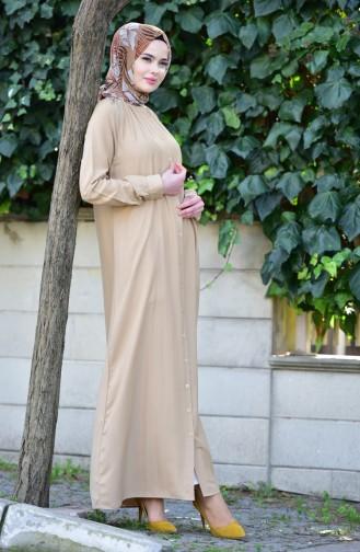 فستان فسكوز بتفاصيل ازرار8119-05 لون بني مائل لرمادي 8119-05