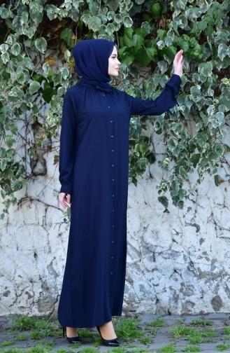 Oyya Viscose Button Dress 8119-06 Navy Blue 8119-06