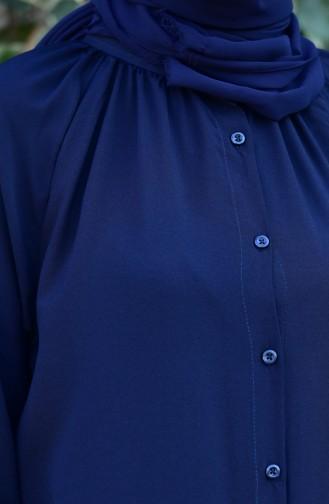 Viskon Düğmeli Elbise 8119-06 Lacivert