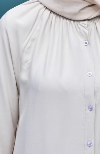 Viskon Düğmeli Elbise 8119-07 Taş
