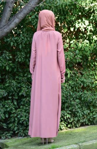 Viskon Düğmeli Elbise 8119-09 Soğan Kabuğu
