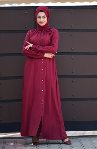 Viscose Long Button Tunic 8120-01 Claret Red 8120-01
