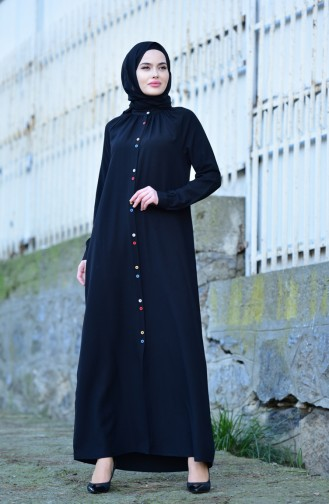 Viscose Long Button Tunic 8120-02 Black 8120-02