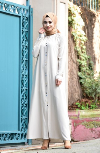 Viscose Long Buttoned Tunic 8120-03 Stone 8120-03