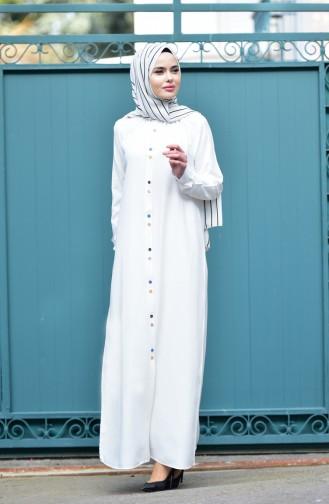 Viskon Uzun Düğmeli Tunik 8120-07 Beyaz