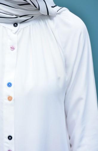Viscose Long Button Tunic 8120-07 White 8120-07