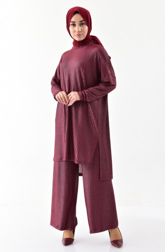 Silvery Tunic Trousers Double Suit 4931-01 Claret Red 4931-01