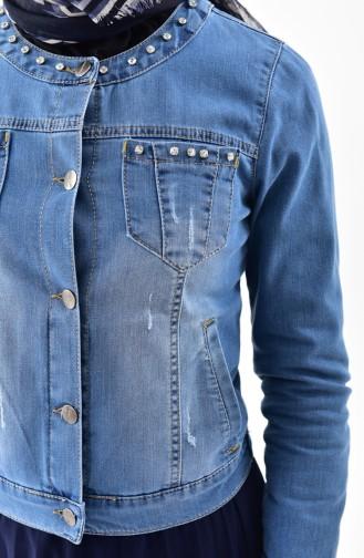 Stone Detailed Jeans Jacket 6041-01 Blue Jeans 6041-01
