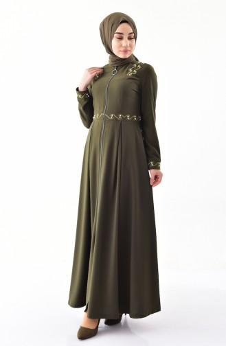 MISS VALLE  Embroidered Abaya 8852-05 Khaki 8852-05