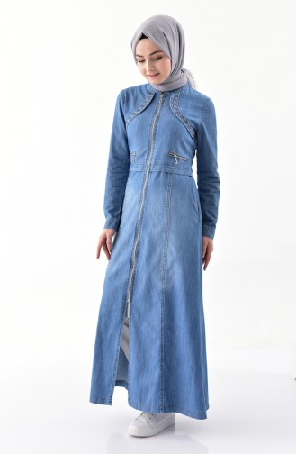 Embroidered Jeans Abaya 9261-02 Blue Jeans 9261-02
