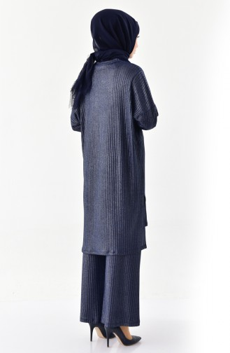Silvery Tunic Trousers Double Suit 4931-02 Navy Blue 4931-02