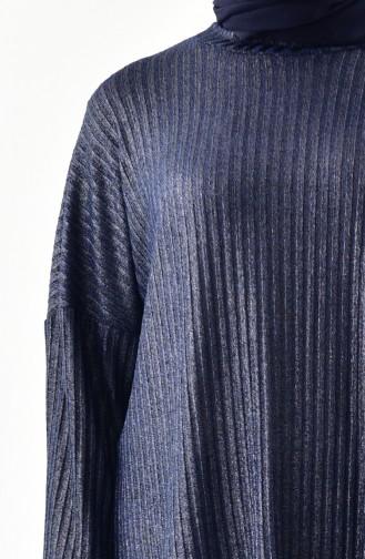 Ensemble Deux Pieces Tunique Pantalon a Paillettes 4931-02 Bleu Marine 4931-02