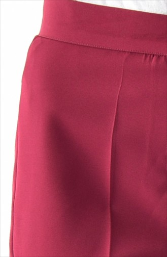 Buttoned Straight Leg Pants 1102-01 Claret Red 1102-01