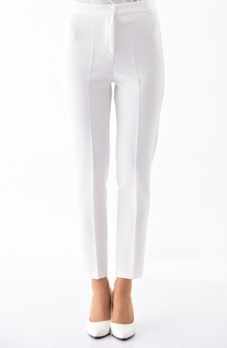 Buttoned Straight Leg Pants 1102-02 Light Beige 1102-02