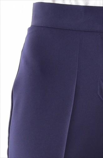 Düğmeli Düz Paça Pantolon 1102-05 Lacivert