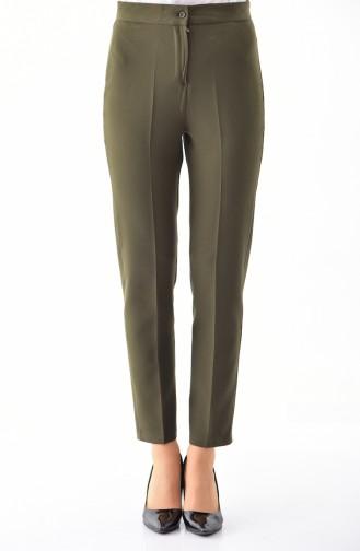 Buttoned Straight Leg Pants 1102-06 Khaki 1102-06