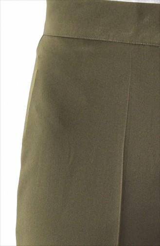 Düğmeli Düz Paça Pantolon 1102-06 Haki