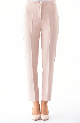 Buttoned Straight Leg Pants 1102-08 Beige 1102-08