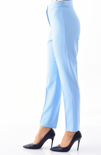 Buttoned Straight Leg Pants 1102-11 Baby Blue 1102-11