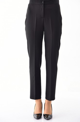 Buttoned Straight Leg Pants 1102-12 Black 1102-12