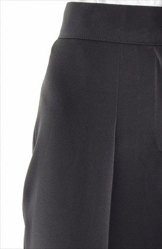 Düğmeli Düz Paça Pantolon 1102-12 Siyah