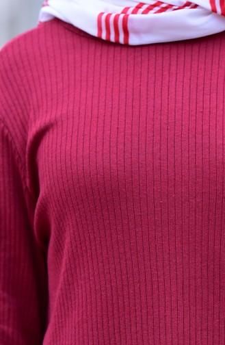 Fitilli Triko Tunik Pantolon İkili Takım 3309-03 Bordo