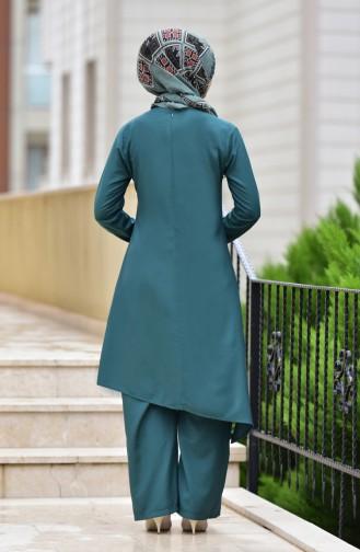 Tunik Pantolon İkili Takım 10107-04 Zümrüt Yeşili