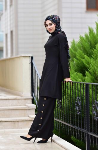 Bağcıklı Tunik Pantolon İkili Takım 10112-08 Siyah 10112-08