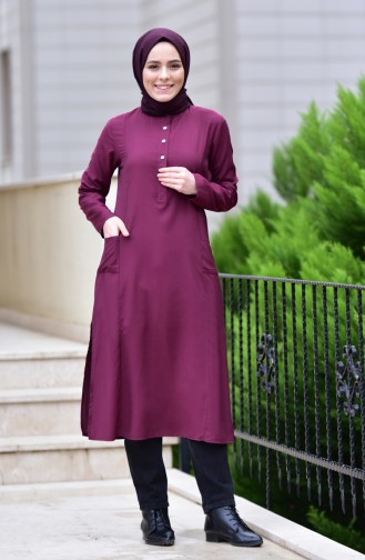 Pocketed Viscose Tunic 10109-07 Claret Red 10109-07