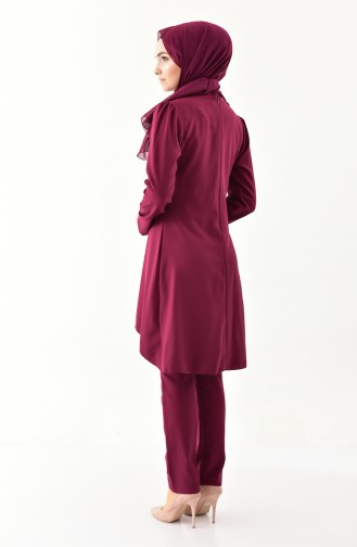 MISS VALLE Pearls Tunic Trousers Double Suit 0121-04 Cherry 0121-04