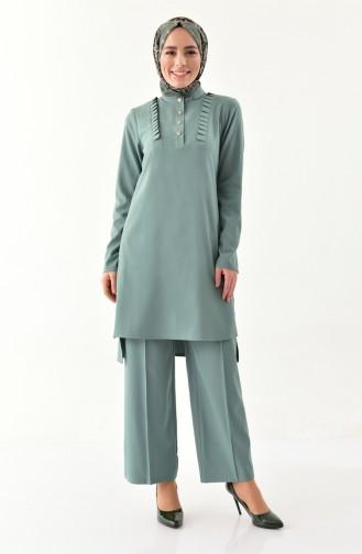 Fırfırlı Tunik Pantolon İkili Takım 1905-06 Çağla Yeşili