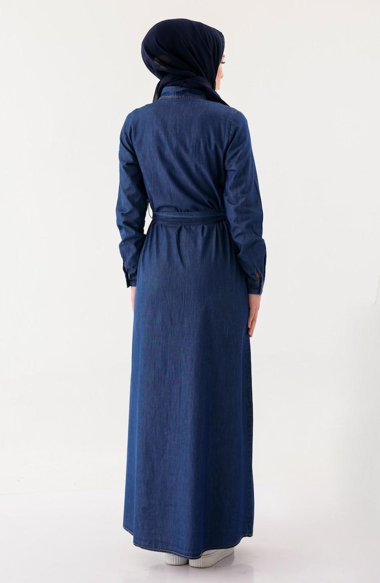 Sefamerve Lacivert Nakışlı Kuşaklı Kot Elbise