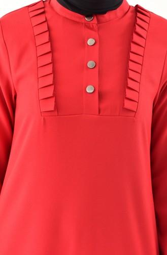 طقم تونيك و بنطال بتفاصيل من الكشكش 1905-03 لون أحمر 1905-03