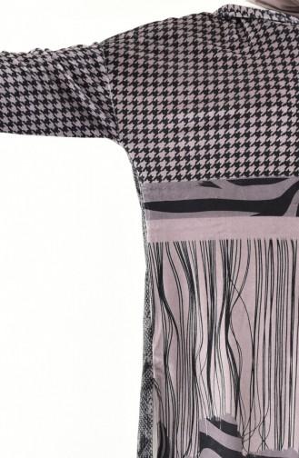 Kadife Desenli Tunik 1172-01 Gri
