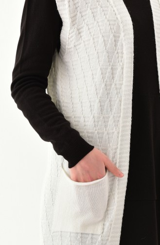 Knitwear Pocket Vest 8109-02 White 8109-02