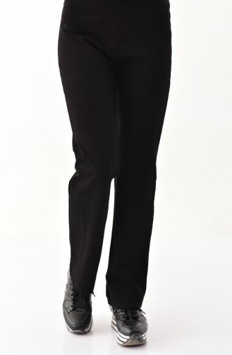Gabardin Düz Paça Pantolon 2200-01 Siyah