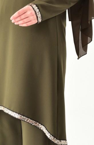 Tunika-Hose 2er Sets mit Pailletten Detail 11174-04 Khaki 11174-04