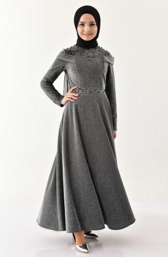 Pearl Detailed Silvery Evening Dress 4063-04 Gray 4063-04