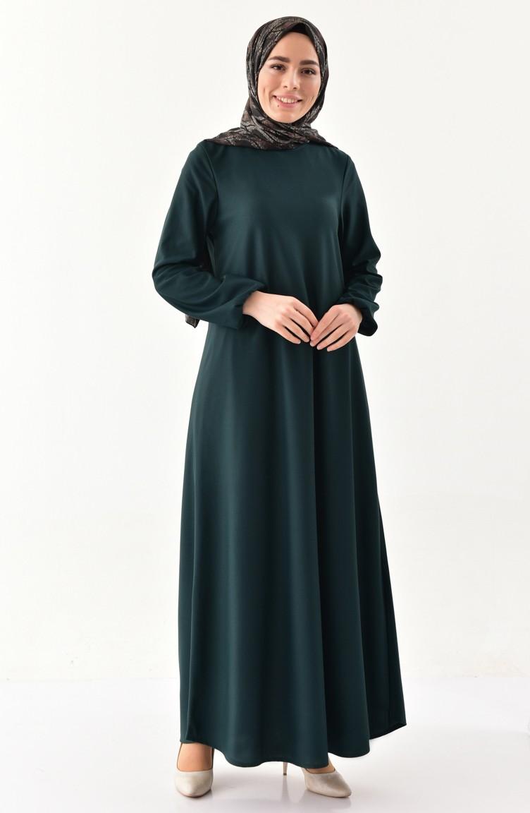 Kolu Lastikli Elbise 4141 01 Zumrut Yesili Sefamerve